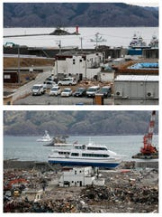 The bottom picture shows a sightseeing boat that was