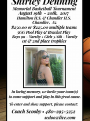 A memorial basketball tournament will be held Aug.