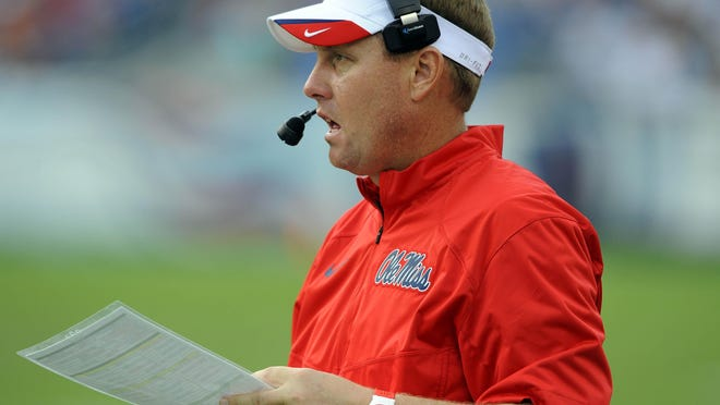 Sep 6, 2014; Nashville, TN, USA; Mississippi Rebels head coach Hugh Freeze during the second half against the Vanderbilt Commodores at LP Field. Mississippi won 41-3. Mandatory Credit: Christopher Hanewinckel-USA TODAY Sports