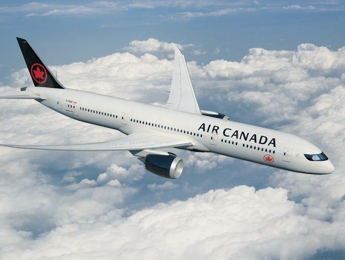 This image released from Air Canada shows its new paint