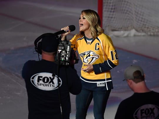 Carrie Underwood, wife of Nashville Predator Mike Fisher,