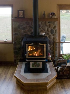 A wood stove at a home in Elkhart Lake.