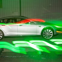 Guest test-drive the new Tesla Model S P85D after Tesla Motors  announced its new all-wheel-drive version of the Tesla Model S car
