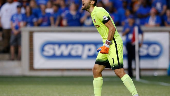 FC Cincinnati goal keeper Mitch Hildebrandt (0) shouts to his team during a play in the first half of the Lamar Hunt U.S. Open Cup Semifinal match between FC Cincinnati and the New York Red Bulls at Nippert Stadium in Cincinnati on Tuesday, Aug. 15, 2017. The Red Bulls came from a 2-0 deficit to win 3-2 in overtime.