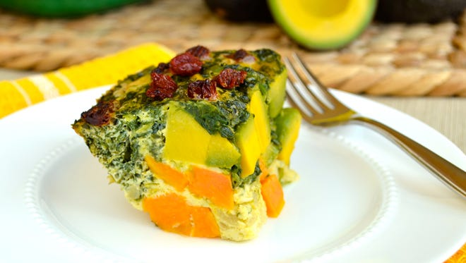 California Avocado Breakfast Casserole with Spinach and Sweet Potatoes.