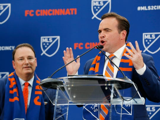 Cincinnati Mayor John Cranley speaks after the announcement