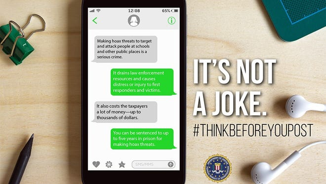 Federal Bureau of Investigation announced a campaign to educate the public on the consequences of posting hoax threats to schools and other public places, and reminds communities that these hoax threats are not a joke.
