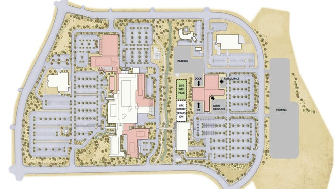Dixie Regional Medical Center is celebrating the kickoff of its expansion project June 17. The new buildings are shown in pink in this graphic.