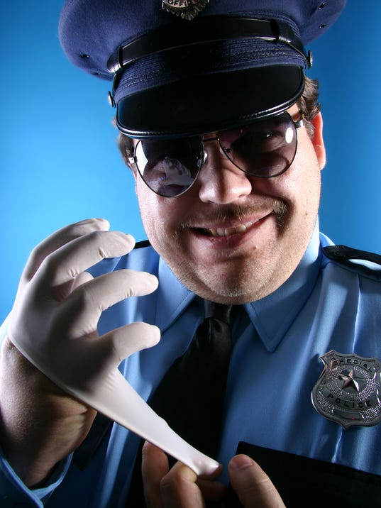 Cop with Latex Glove