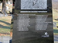 A special marker showing the locations of graves of abolitionists has been erected near the Walnut Street entrance of Woodlawn Cemetery in Elmira.