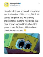 "A fake tweet circulating that falsely states that ""SpongeBob SquarePants"" is ending on March 1, 2018."