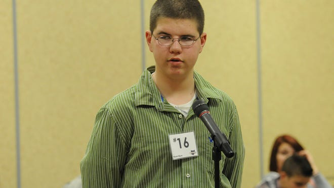 """Noah Blum won the 2015 Richland County spelling bee by correctly spelling the word """"protein"""" on Thursday. Jason J. Molyet/News Journal"""