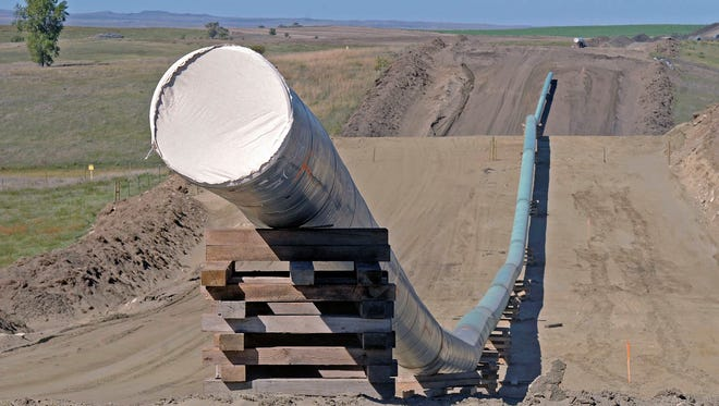 The Dakota Access Pipeline is shown under construction in 2017.