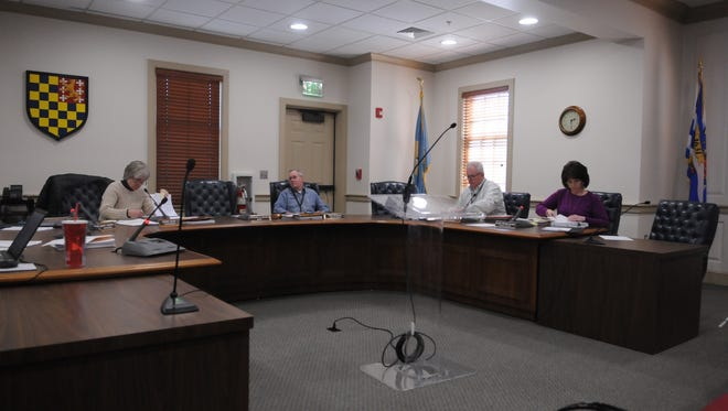 The Lewes City Council held a budget workshop March 16 to hammer out a few more options to reduce the remaining $35,000 deficit before approving the FY 2018 budget on March 20. Pictured are Treasurer Bonnie Osler, Deputy Mayor Fred Beaufort, City Manager Paul Eckrich and Finance Officer Ellen McCabe.