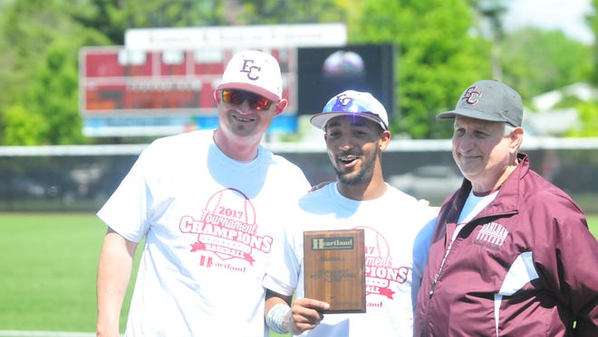 The Earlham College baseball team defeated Mount St. Joseph 5-2 to win the Heartland Collegiate Athletic Conference tournament and earn a berth in the NCAA Division III national tournament Saturday, May 13, 2017 at Randal R. Sadler Stadium.