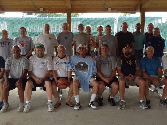 """Former pick-up basketball players gathered on Saturday  at the old Coldbrook Elementary (now William K. Nitterhouse Family Center) for """"One More Game At The Brook."""""""