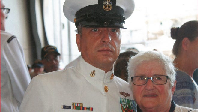 Senior Chief Engineering Aide Randall Mand with his mother, Irene Mand.