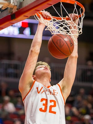 West Des Moines Valley's (32)Charley Crowley dunks the ball against Sioux City East during their 4A semifinal at the Iowa boys' high school basketball tournament Friday March 10, 2017, at Wells Fargo Arena in Des Moines, Iowa. Valley defeated East 64-54.