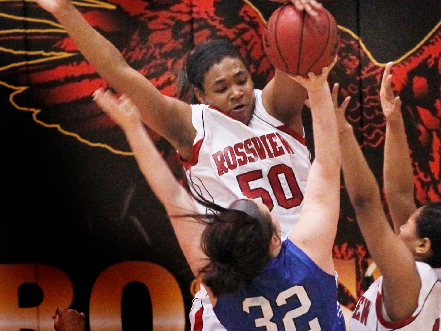Rossview's Jemiah Harrison blocks Lebanon's Kendra Brown during the quarterfinals of the Region 5-AAA tournament Friday night last year. Harrison has signed to play college basketball at Vol State.