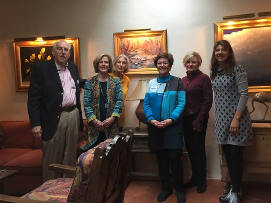 From left, Bonner Englehardt, Art Auction Acquisition Committee co-chair Lucy Jackson, Jane Barganier, Committee chairwoman Mary Dunn, Camille Elebash-Hill and Gage LeQuire admiring a Watt Gonski painting at the Nedra Matteucci Galleries in Santa Fe, New Mexico.