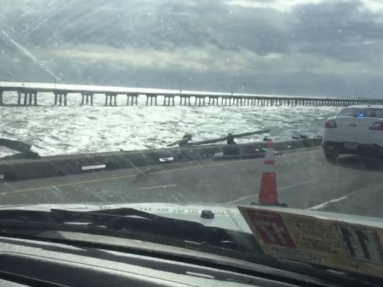 A view from the Chesapeake Bay Bridge-Tunnel after a tractor-trailer fell into the water on Feb. 9, 2017.