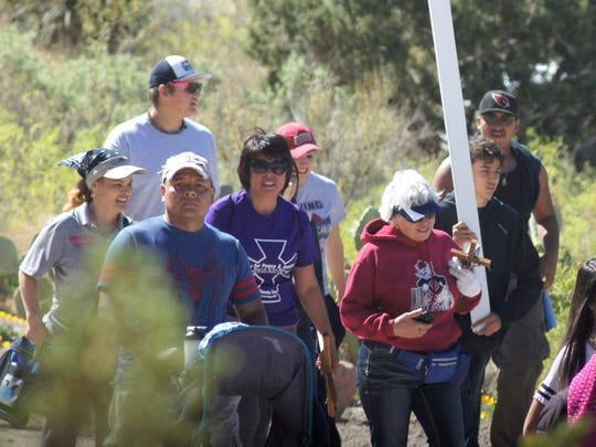 Many adults accompanied the youth during the annual Santa Ana Catholic Church Youth Ministry Lenten Youth Walk to Rockhound State Park.