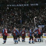 DENVER, CO - APRIL 19:  The Colorado Avalanche celebrate their 4-2 victory over the Minnesota Wild in Game Two of the First Round of the 2014 NHL Stanley Cup Playoffs at Pepsi Center on April 19, 2014 in Denver, Colorado. The Avalanche hold a 2-0 games lead in the series.  (Photo by Doug Pensinger/Getty Images)