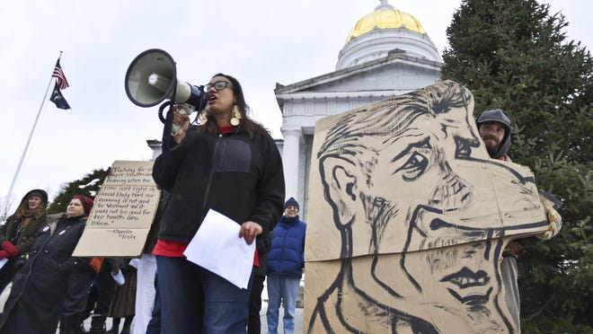 The Vermont Workers' Center is offering an apology for this caricature of Gov. Peter Shumlin with a moveable nose fashioned after Pinocchio. The center said that it might be considered reminiscent of anti-Semitic propaganda.