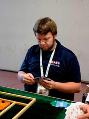Christian Jolly works his bridge magic while at a tournament in Salsomaggiore, Italy.