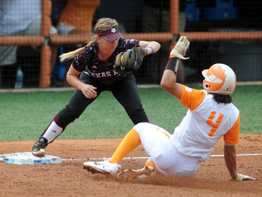 Tennessee's Brooke Vines (4) gets tagged out at third during a NCAA Super Regional game between Tennessee and Texas A&M at Sherri Parker Lee Stadium on Sunday, May 28, 2017. Texas A&M defeated Tennessee 5-3, and will head to Oklahoma City for the NCAA Women's College World Series.