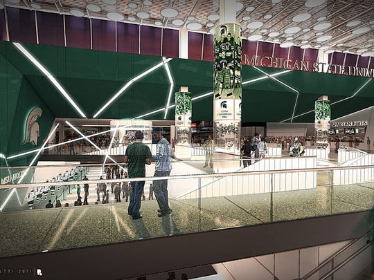 An artist's rendering of proposed interior renovations to MSU's Munn Ice Arena.
