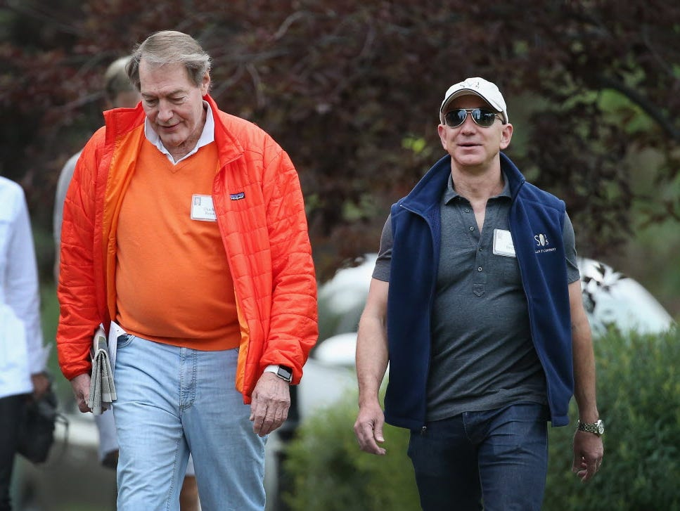 Amazon CEO Jeff Bezos (right), walking recently with TV show host Charlie Rose at the Allen and Company conference in Sun Valley, bought Jet founder Marc Lore's startup Quidsi. Jet aims to compete with Amazon for e-commerce sales.