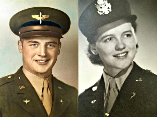 John Neu, left, and Lois Neu, in their Army dress uniforms during World War II. John served as a pilot. Lois served as a nurse. John is 100. Lois is 96. The couple has been married 75 years.