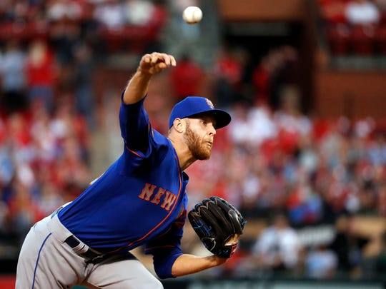 New York Mets starting pitcher Zack Wheeler throws during the first inning of the team's baseball game against the St. Louis Cardinals on Tuesday, April 24, 2018, in St. Louis.
