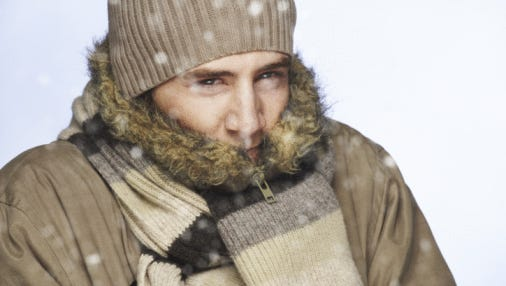 Cold man in snow