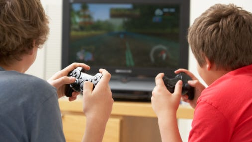 Two boys playing a game
