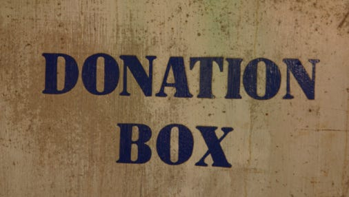 Donation box sign
