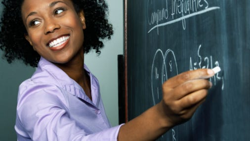 A stock image of a teacher writing an equation on a chalkboard.