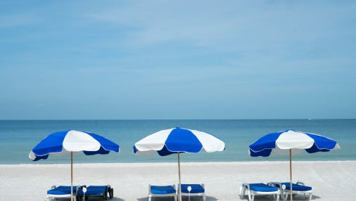 Three beach umbrellas