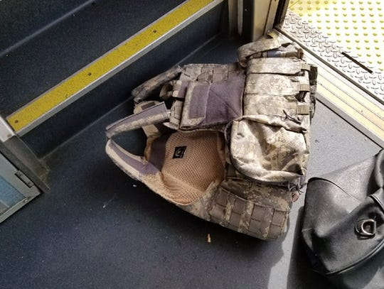 A vest put on by a man who boarded a train at the last
