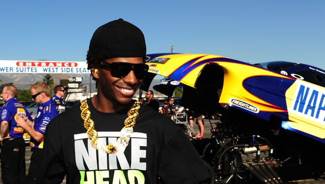 Supercross rider James Stewart in attendance during NHRA qualifying at the Winternationals at Auto Club Raceway at Pomona, Feb. 9, 2012.