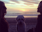 """While Olivia Wilde and a pal enjoyed a gorgeous sunset on the beach, her dog Paco turned his back on the water. """"Pace rejects the ocean,"""" the actress wrote."""
