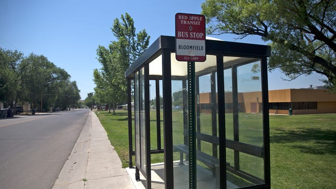 This bus stop on South First Street in Bloomfield likely will become part of a new line operated by the North Central Regional Transit District that connects Dulce to Farmington.