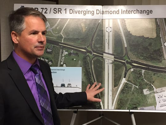 Darren O'Neill, am engineer with the Delaware Department of Transportation, explains how the diverging diamond works during a press conference Friday morning near Delaware City.