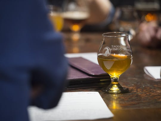 A beer being enjoyed at  Gilded Goat Brewing.