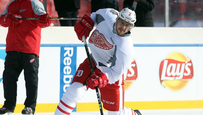 Dec 30, 2016; Toronto, ON, Canada; Detroit Red Wings defenseman Brendan Smith shoots as he practices two days before playing against the Toronto Maple Leafs in the Centennial Classic hockey game at BMO Field.