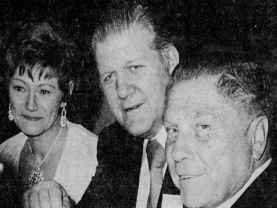 Jimmy Hoffa (right) with Frank Sheeran and his wife in New jersey in 1972.
