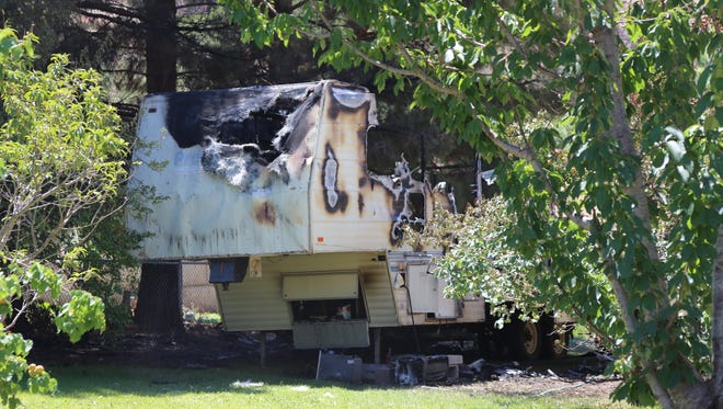 A fifth-wheel trailer caught fire in LaVerkin Monday morning. The fire was caused by an explosion after an occupant attempted to light a propane-powered refrigerator inside the structure, according to the Hurricane Valley Fire and Rescue.
