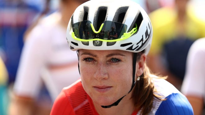 Annemiek van Vleuten of the Netherlands stands on the start line before the women's cycling road race at the 2016 Summer Olympics.