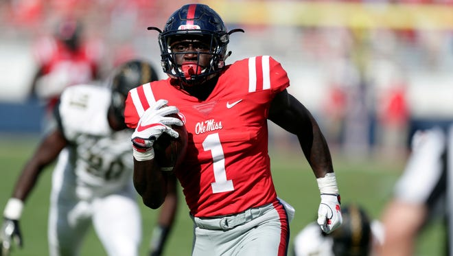 Ole Miss receiver A.J. Brown (1) dominated Vanderbilt's secondary with eight receptions for 174 yards and a touchdown.